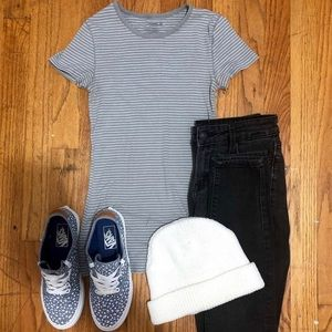 Old Navy Striped Slim Fit T Shirt-Xs